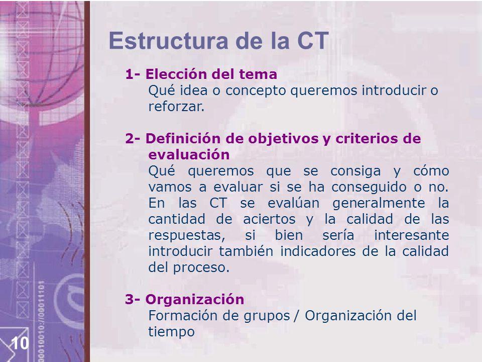 10 Estructura de la CT 1- Elección del tema Qué idea o concepto queremos introducir o reforzar. 2- Definición de objetivos y criterios de evaluación Q