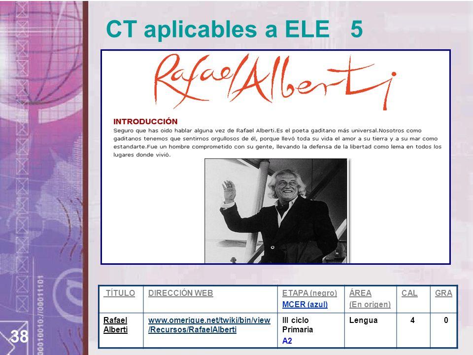 38 CT aplicables a ELE 5 TÍTULODIRECCIÓN WEBETAPA (negro) MCER (azul) ÁREA (En origen) CALGRA Rafael Alberti www.omerique.net/twiki/bin/view /Recursos