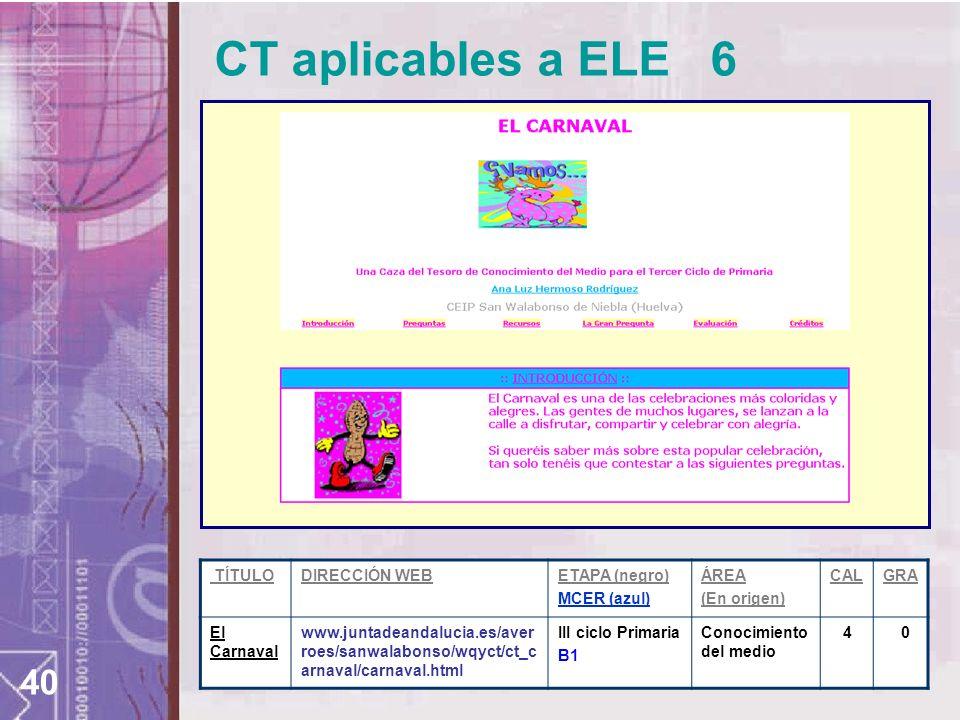 40 TÍTULODIRECCIÓN WEBETAPA (negro) MCER (azul) ÁREA (En origen) CALGRA El Carnaval www.juntadeandalucia.es/aver roes/sanwalabonso/wqyct/ct_c arnaval/