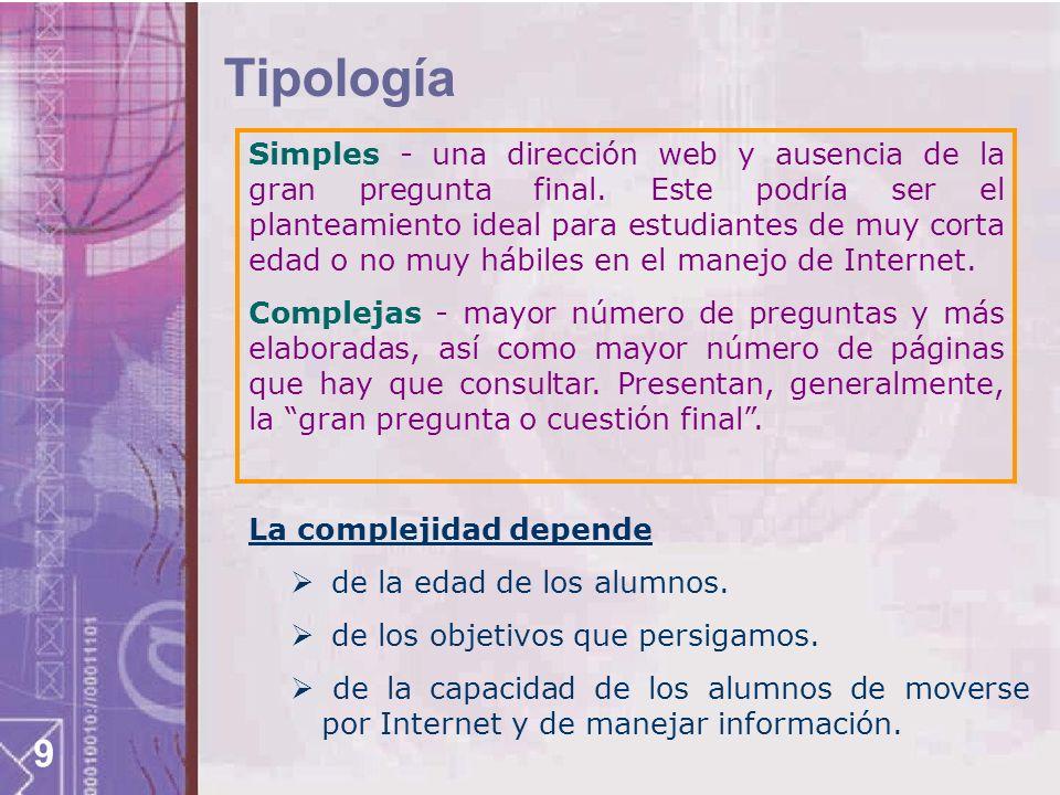 9 Tipología Simples - una dirección web y ausencia de la gran pregunta final. Este podría ser el planteamiento ideal para estudiantes de muy corta eda