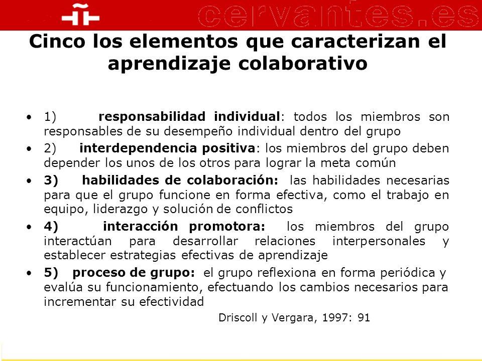 Cinco los elementos que caracterizan el aprendizaje colaborativo 1) responsabilidad individual: todos los miembros son responsables de su desempeño in