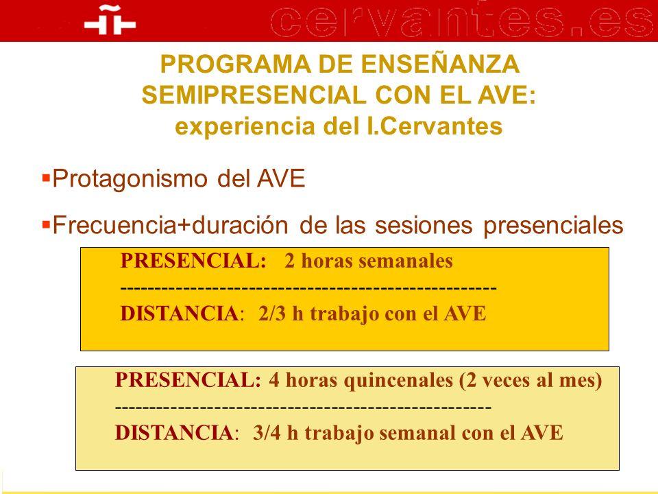 PROGRAMA DE ENSEÑANZA SEMIPRESENCIAL CON EL AVE: experiencia del I.Cervantes Protagonismo del AVE Frecuencia+duración de las sesiones presenciales PRE