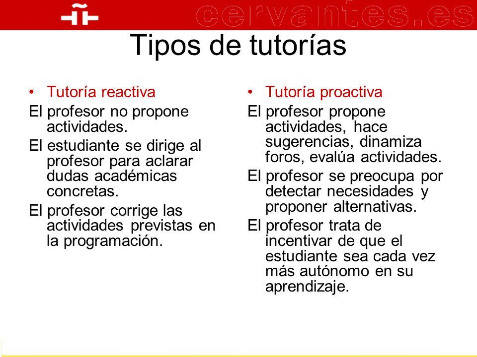 Tipos de tutorías Tutoría reactiva El profesor no propone actividades. El estudiante se dirige al profesor para aclarar dudas académicas concretas. El