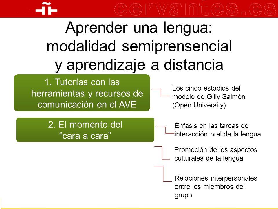 Aprender una lengua: modalidad semiprensencial y aprendizaje a distancia 1.Tutorías con las herramientas y recursos de comunicación en el AVE Los cinc