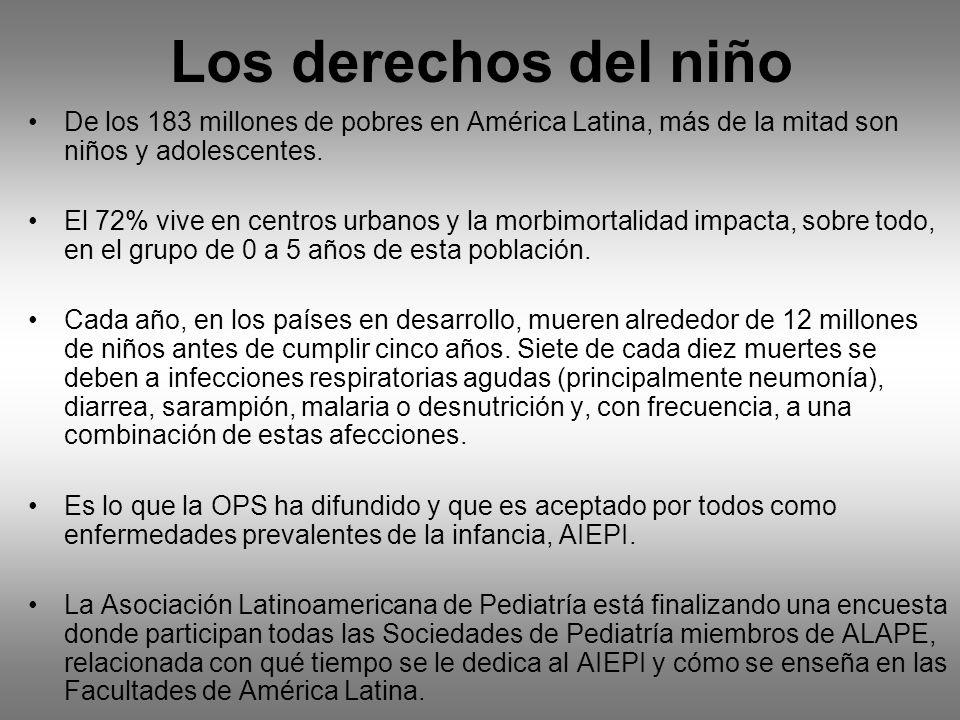 Los derechos del niño De los 183 millones de pobres en América Latina, más de la mitad son niños y adolescentes. El 72% vive en centros urbanos y la m