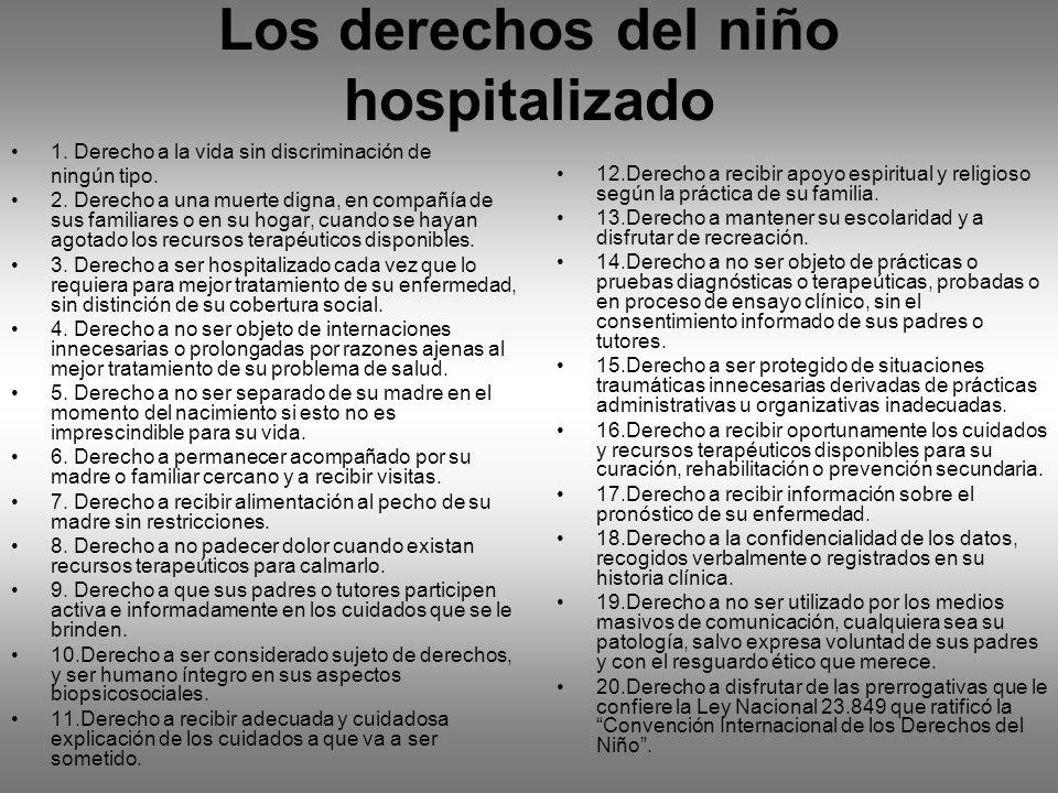 Los derechos del niño hospitalizado 1. Derecho a la vida sin discriminación de ningún tipo. 2. Derecho a una muerte digna, en compañía de sus familiar