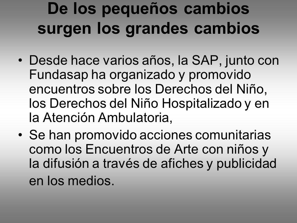 De los pequeños cambios surgen los grandes cambios Desde hace varios años, la SAP, junto con Fundasap ha organizado y promovido encuentros sobre los D