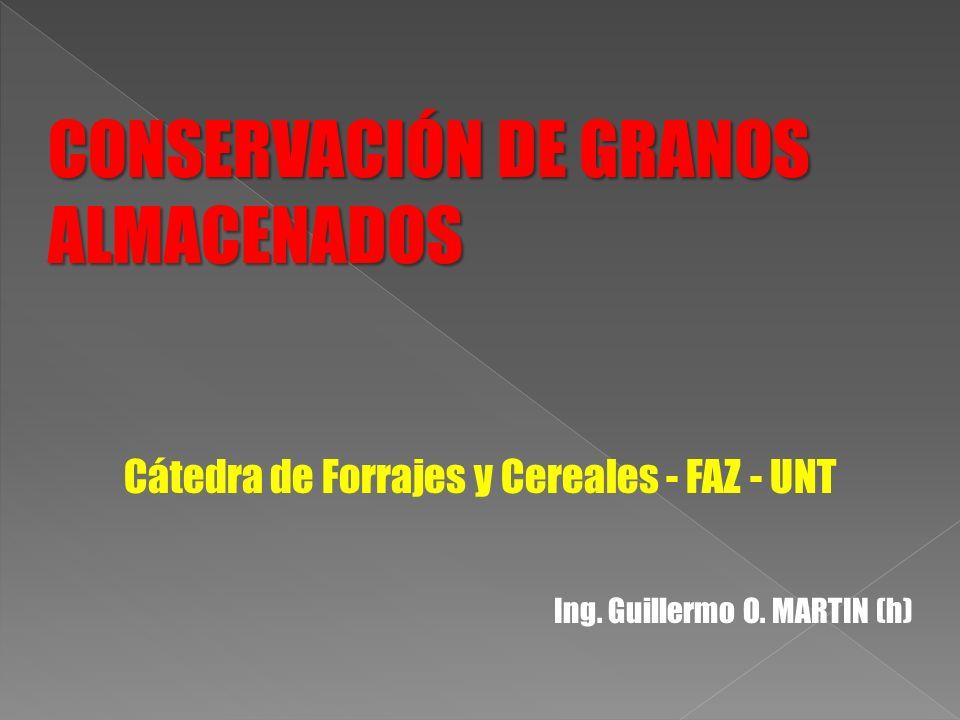 CONSERVACIÓN DE GRANOS ALMACENADOS ALMACENADOS Cátedra de Forrajes y Cereales - FAZ - UNT Ing. Guillermo O. MARTIN (h)