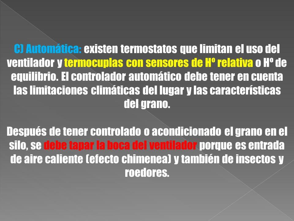 C) Automática: existen termostatos que limitan el uso del ventilador y termocuplas con sensores de Hº relativa o Hº de equilibrio. El controlador auto