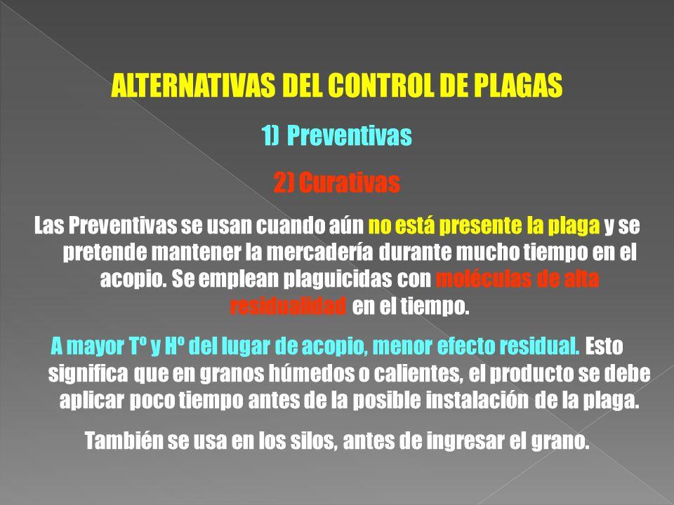 ALTERNATIVAS DEL CONTROL DE PLAGAS 1)Preventivas 2)Curativas Las Preventivas se usan cuando aún no está presente la plaga y se pretende mantener la me