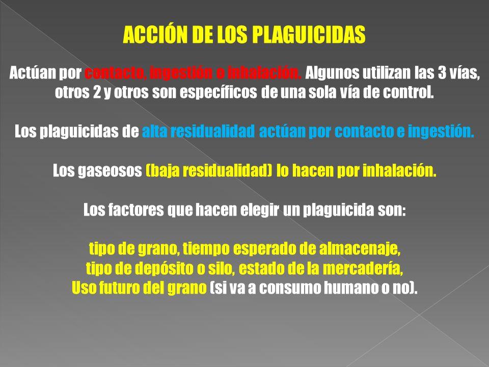 ACCIÓN DE LOS PLAGUICIDAS Actúan por contacto, ingestión o inhalación. Algunos utilizan las 3 vías, otros 2 y otros son específicos de una sola vía de