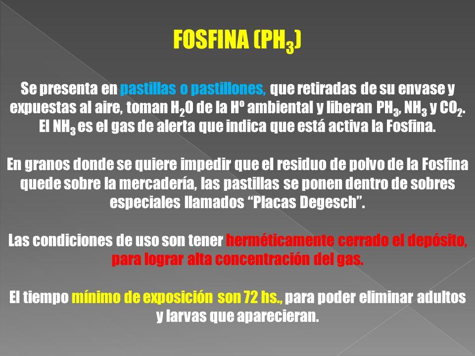 FOSFINA (PH 3 ) Se presenta en pastillas o pastillones, que retiradas de su envase y expuestas al aire, toman H 2 O de la Hº ambiental y liberan PH 3,