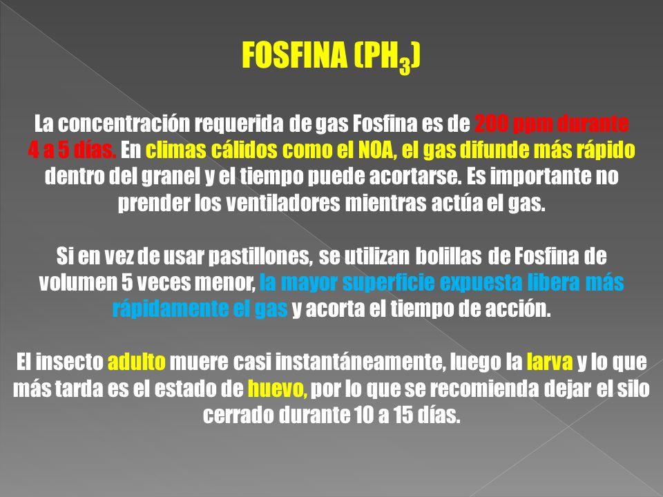 FOSFINA (PH 3 ) La concentración requerida de gas Fosfina es de 200 ppm durante 4 a 5 días. En climas cálidos como el NOA, el gas difunde más rápido d