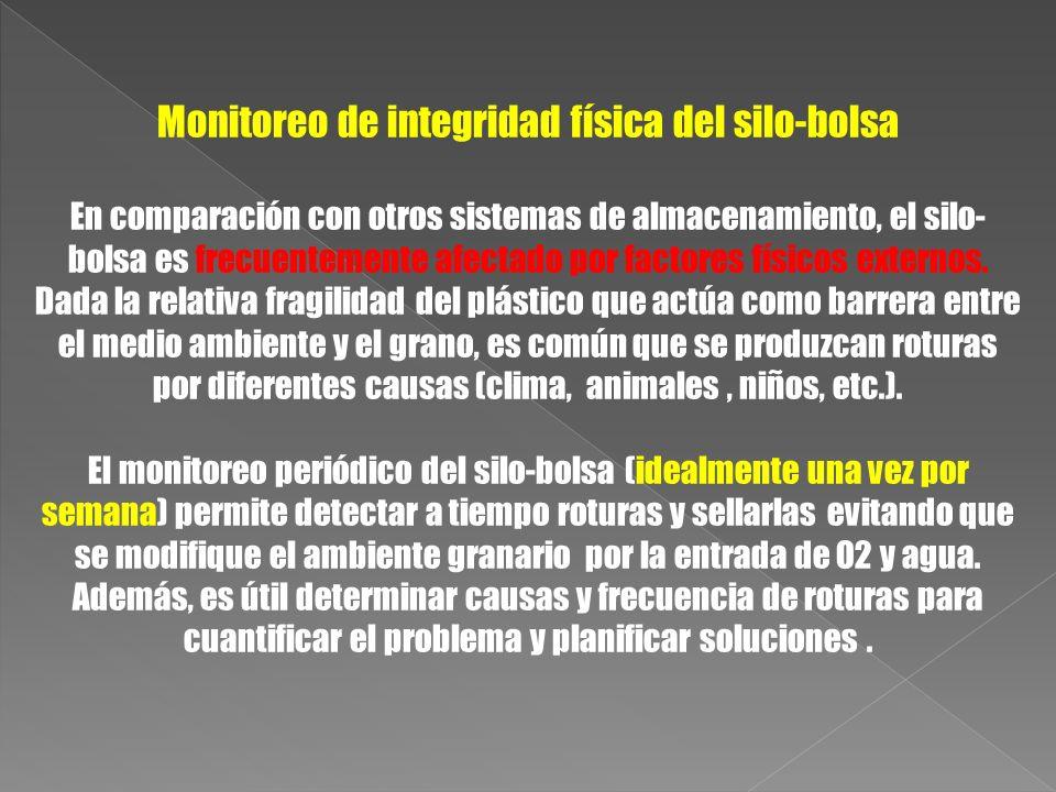 Monitoreo de integridad física del silo-bolsa En comparación con otros sistemas de almacenamiento, el silo- bolsa es frecuentemente afectado por facto