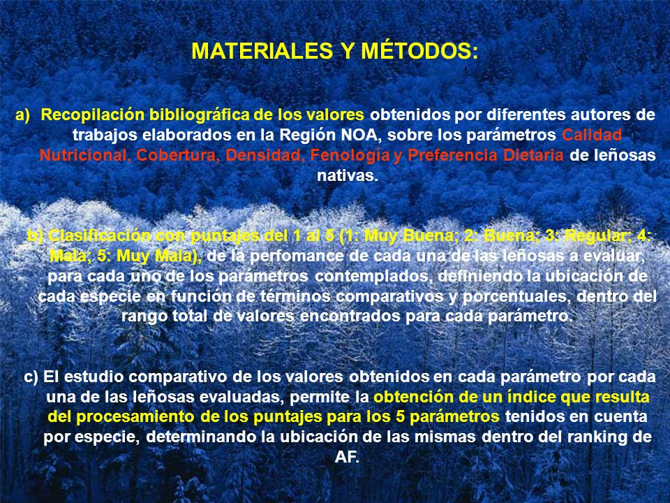 MATERIALES Y MÉTODOS: a)Recopilación bibliográfica de los valores obtenidos por diferentes autores de trabajos elaborados en la Región NOA, sobre los
