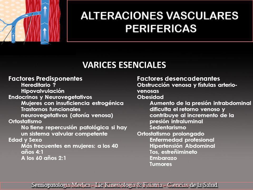 Semiopatologia medica – Lic kinesiología y fisiatría - Facultad de Ciencias de la Salud VARICES ESENCIALES Factores desencadenantes Obstrucción venosa