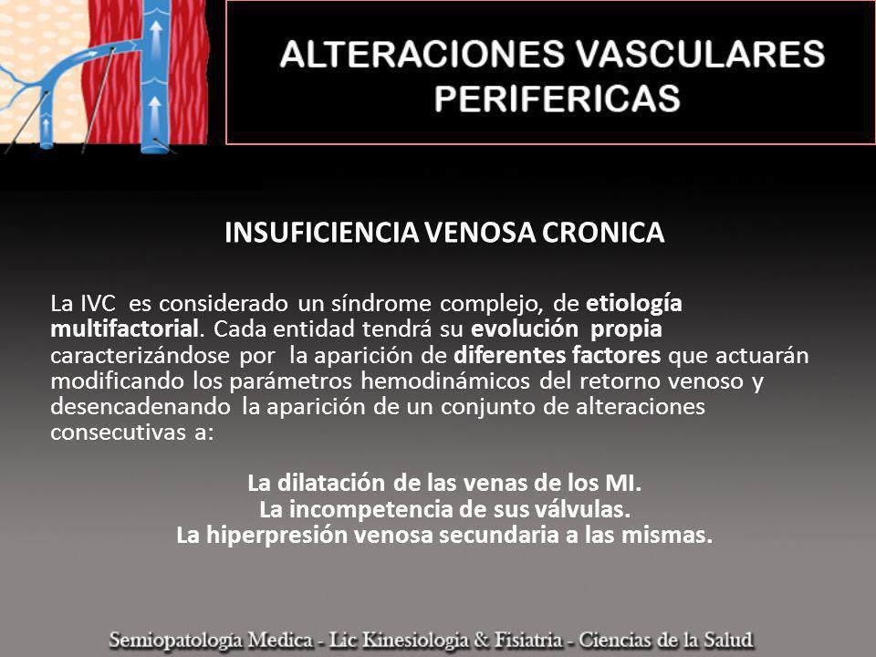 INSUFICIENCIA VENOSA CRONICA La IVC es considerado un síndrome complejo, de etiología multifactorial. Cada entidad tendrá su evolución propia caracter