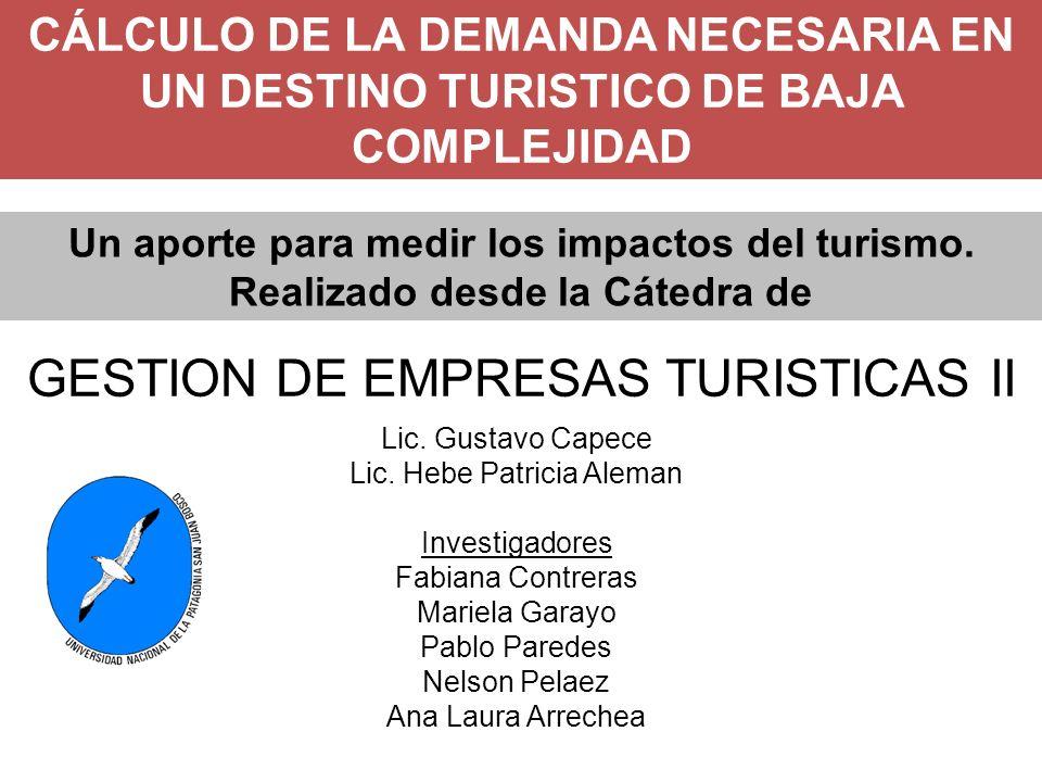 GESTION DE EMPRESAS TURISTICAS II CÁLCULO DE LA DEMANDA NECESARIA EN UN DESTINO TURISTICO DE BAJA COMPLEJIDAD Lic.
