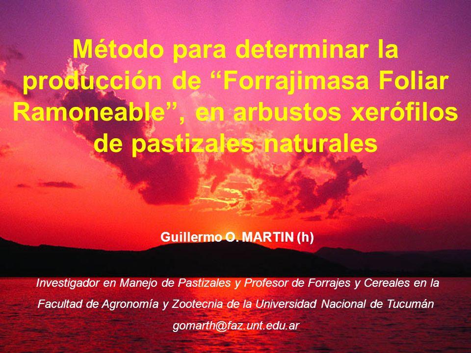 Método para determinar la producción de Forrajimasa Foliar Ramoneable, en arbustos xerófilos de pastizales naturales Guillermo O. MARTIN (h) Investiga