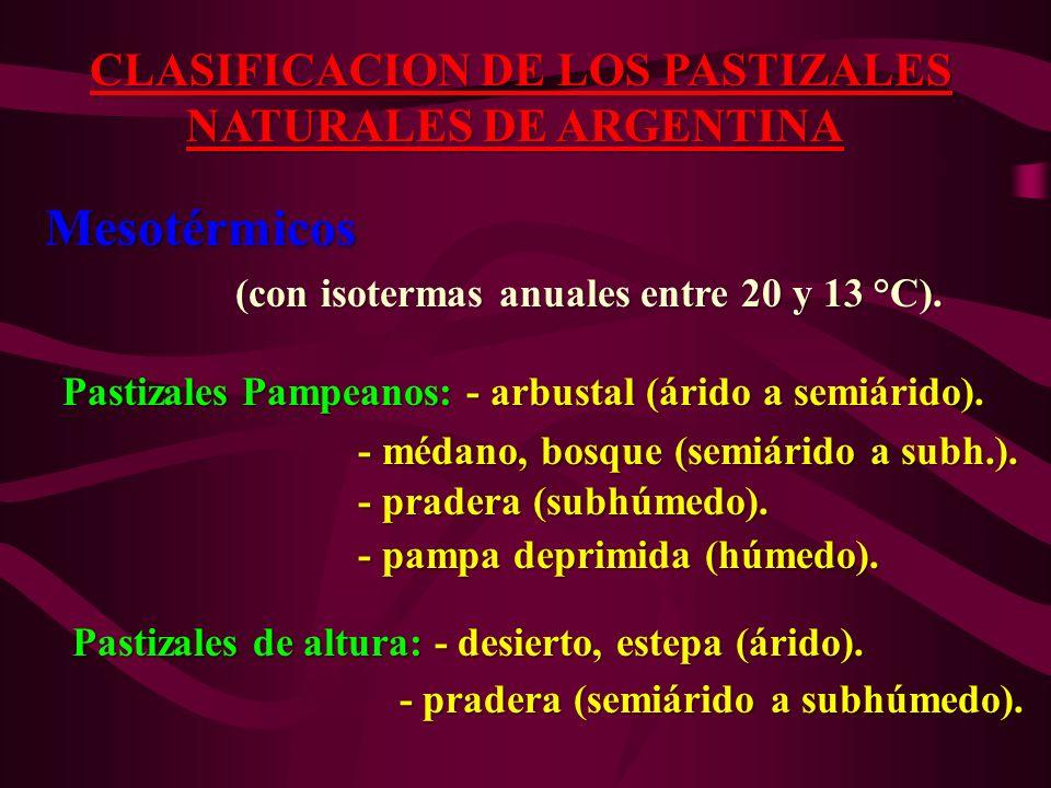 CLASIFICACION DE LOS PASTIZALES NATURALES DE ARGENTINA NATURALES DE ARGENTINA Mesotérmicos Mesotérmicos (con isotermas anuales entre 20 y 13 °C). (con
