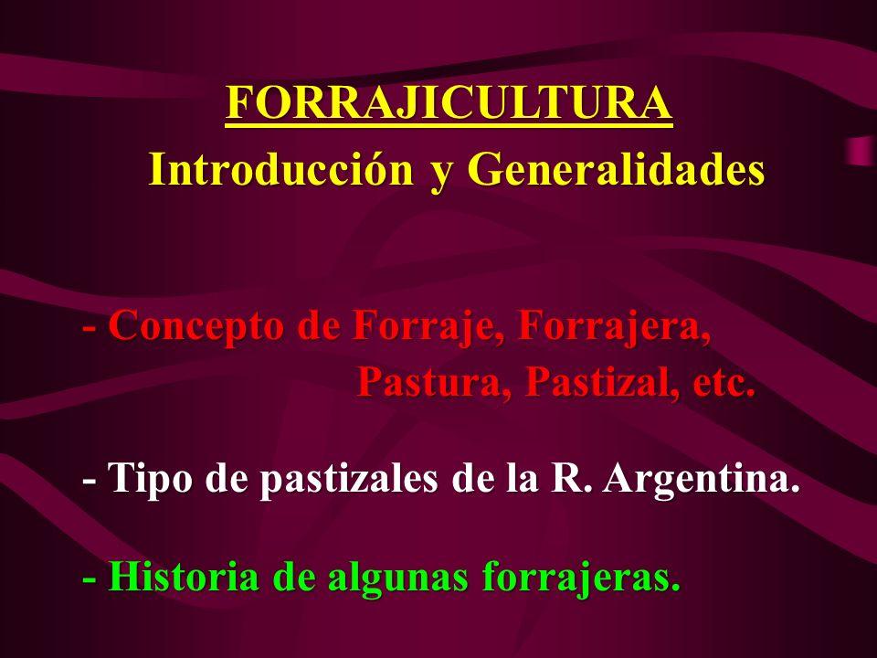 FORRAJICULTURA Introducción y Generalidades Introducción y Generalidades - Concepto de Forraje, Forrajera, - Concepto de Forraje, Forrajera, Pastura,