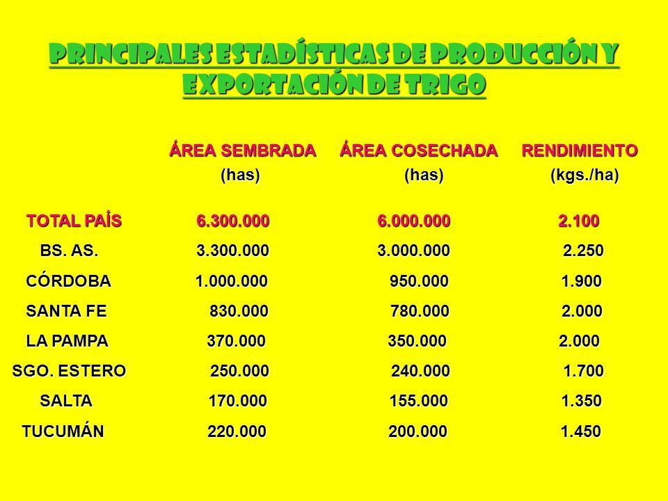 Principales Estadísticas de Producción y Exportación de Trigo EXPORTACIÓN ARGENTINA DE TRIGO (en Tn) COMO GRANO DE TRIGO COMO HARINA DE TRIGO COMO GRANO DE TRIGO COMO HARINA DE TRIGO BRASIL 5.300.000 BRASIL 183.000 BRASIL 5.300.000 BRASIL 183.000 PERÚ 115.000 BOLIVIA 146.000 PERÚ 115.000 BOLIVIA 146.000 URUGUAY 173.000 CHILE 12.500 URUGUAY 173.000 CHILE 12.500 CHILE 100.000 URUGUAY 3.400 CHILE 100.000 URUGUAY 3.400 MOZAMBIQUE 34.000 MOZAMBIQUE 34.000 LÍBANO 30.000 LÍBANO 30.000 SUDÁFRICA 23.000 SUDÁFRICA 23.000