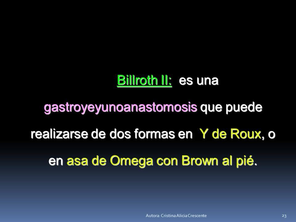 Autora: Cristina Alicia Crescente 22 Tipos de anastomosis Billroth I: es una gastroduodenoanastomosis, conserva el tránsito normal. Billroth I: es una