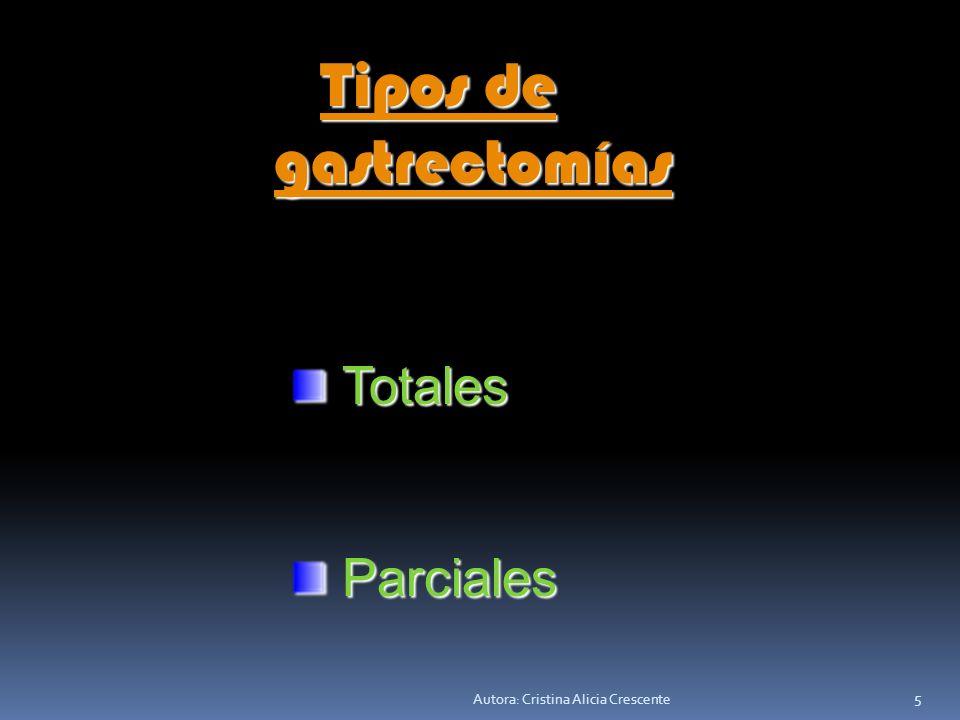 Autora: Cristina Alicia Crescente 5 Tipos de Tipos de gastrectomías gastrectomías Totales Totales Parciales Parciales