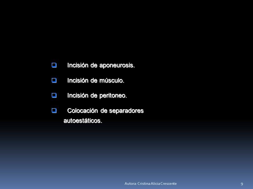 Autora: Cristina Alicia Crescente 9 Incisión de aponeurosis.