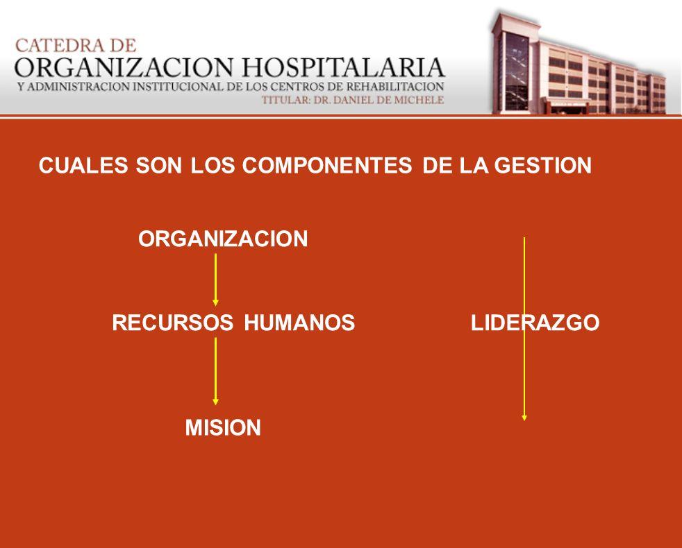 CUALES SON LOS COMPONENTES DE LA GESTION ORGANIZACION RECURSOS HUMANOS MISION LIDERAZGO