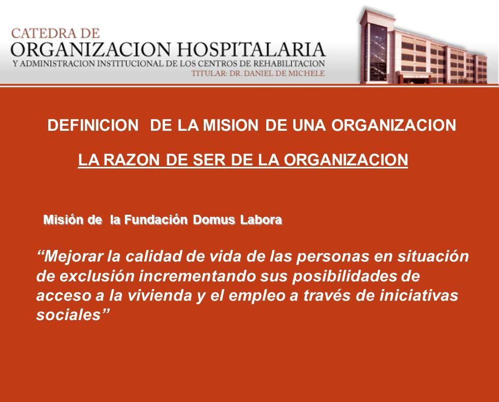 DEFINICION DE LA MISION DE UNA ORGANIZACION LA RAZON DE SER DE LA ORGANIZACION Mejorar la calidad de vida de las personas en situación de exclusión in