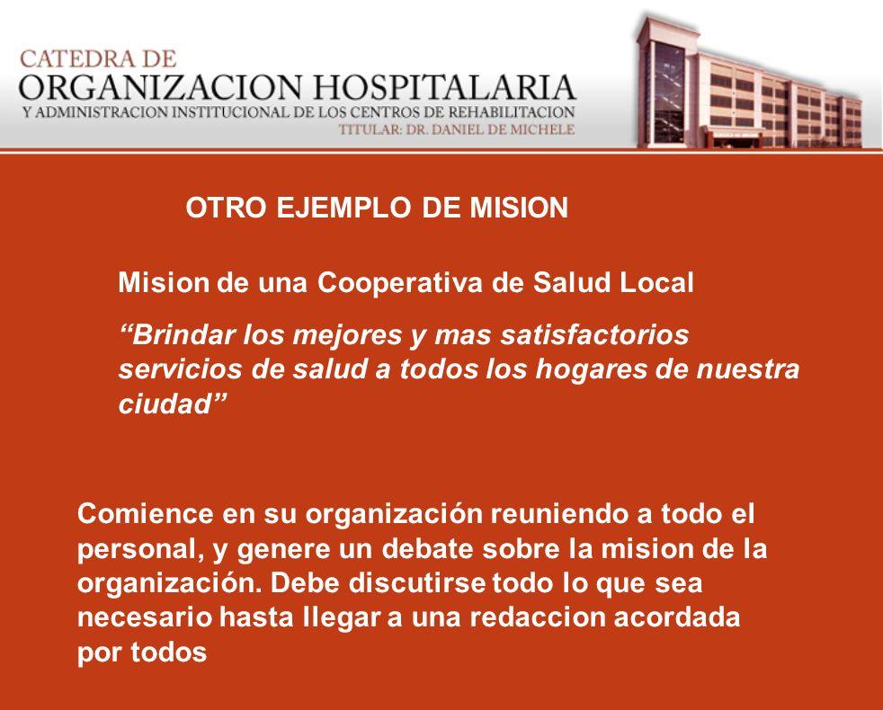 OTRO EJEMPLO DE MISION Mision de una Cooperativa de Salud Local Brindar los mejores y mas satisfactorios servicios de salud a todos los hogares de nue
