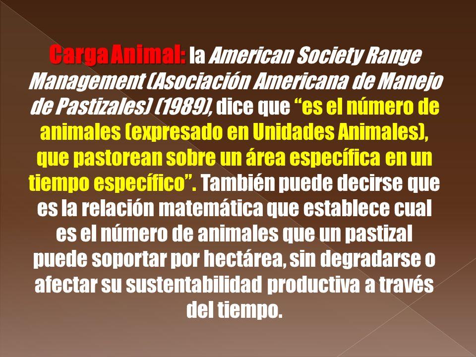 Carga Animal: Carga Animal: la American Society Range Management (Asociación Americana de Manejo de Pastizales) (1989), dice que es el número de anima