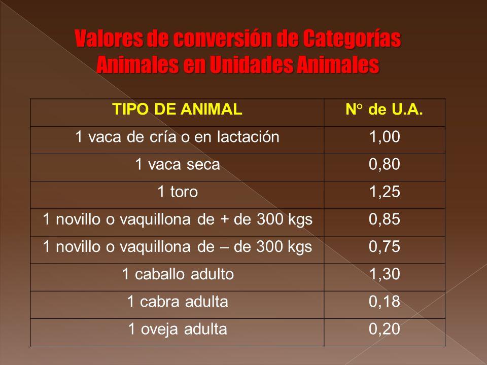 TIPO DE ANIMALN° de U.A. 1 vaca de cría o en lactación1,00 1 vaca seca0,80 1 toro1,25 1 novillo o vaquillona de + de 300 kgs0,85 1 novillo o vaquillon