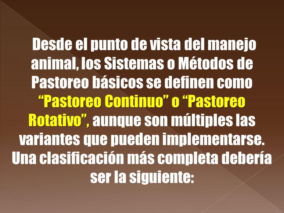Pastoreo Continuo o Pastoreo Rotativo, Desde el punto de vista del manejo animal, los Sistemas o Métodos de Pastoreo básicos se definen como Pastoreo