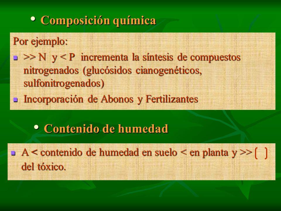Composición química Composición química Por ejemplo: >> N y > N y < P incrementa la síntesis de compuestos nitrogenados (glucósidos cianogenéticos, su