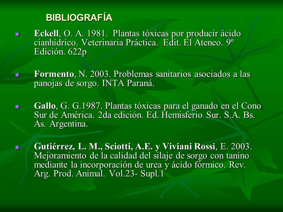BIBLIOGRAFÍA Eckell, O. A. 1981. Plantas tóxicas por producir ácido cianhídrico. Veterinaria Práctica. Edit. El Ateneo. 9º Edición. 622p Eckell, O. A.