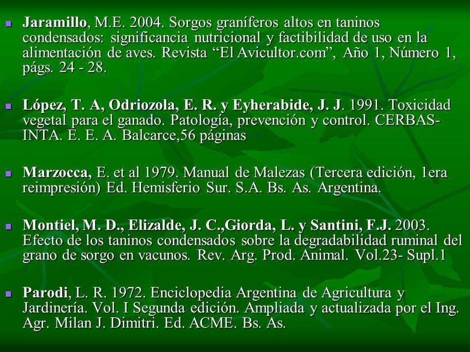 Jaramillo, M.E. 2004. Sorgos graníferos altos en taninos condensados: significancia nutricional y factibilidad de uso en la alimentación de aves. Revi