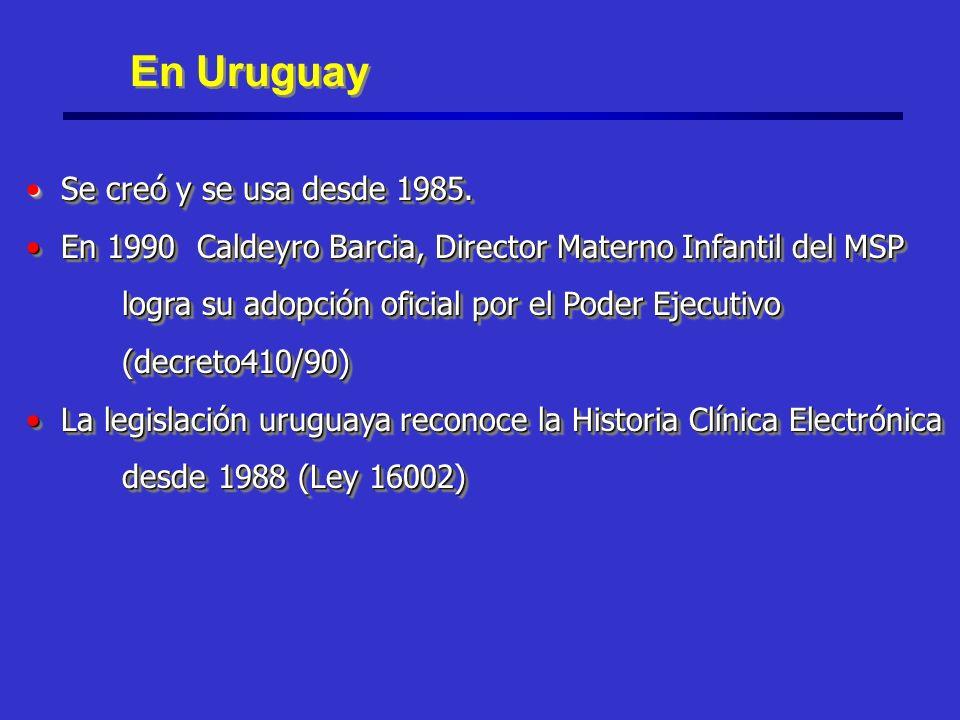 En Uruguay Se creó y se usa desde 1985. Se creó y se usa desde 1985.