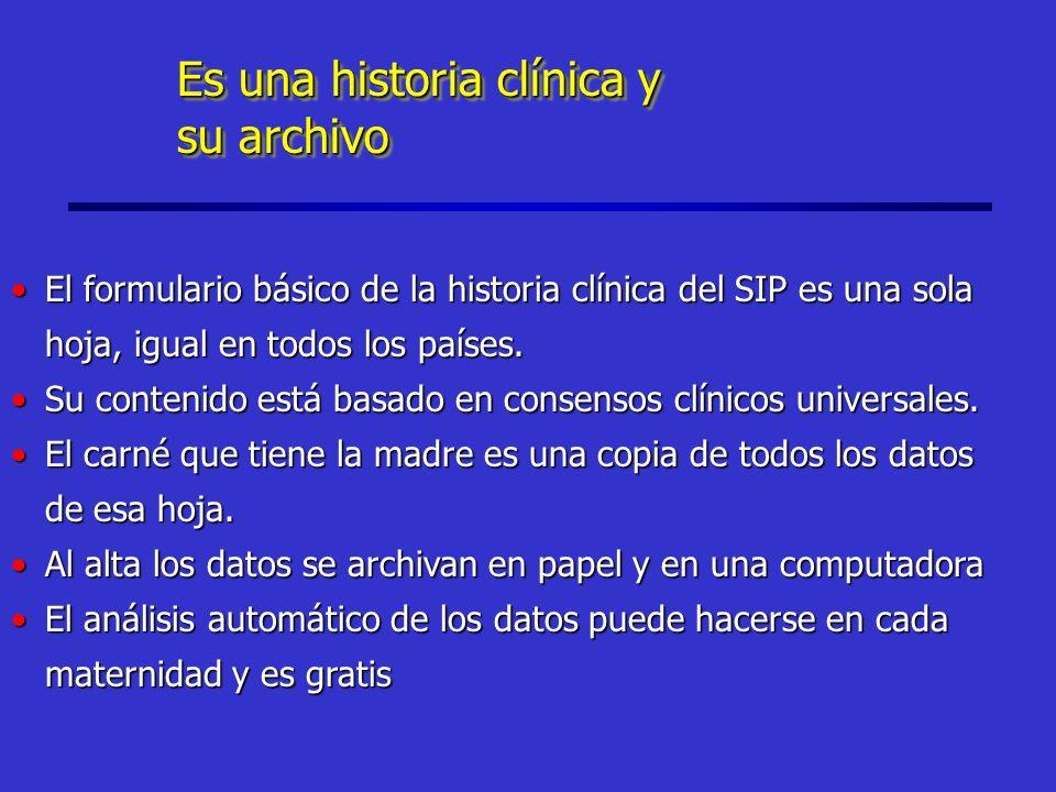 Es una historia clínica y su archivo Es una historia clínica y su archivo El formulario básico de la historia clínica del SIP es una sola hoja, igual en todos los países.El formulario básico de la historia clínica del SIP es una sola hoja, igual en todos los países.