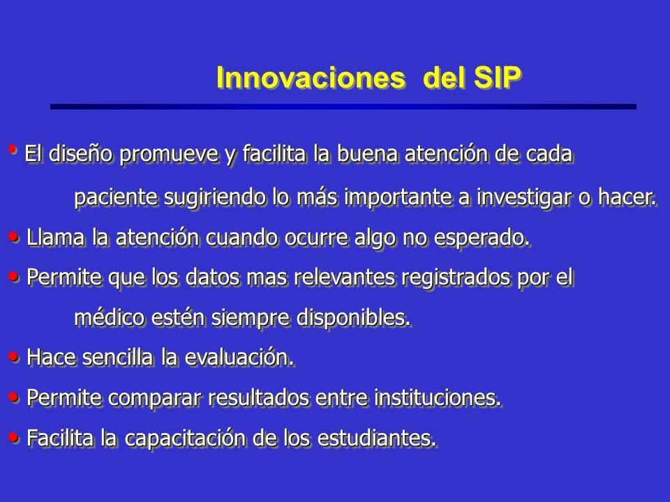 Innovaciones del SIP El diseño promueve y facilita la buena atención de cada paciente sugiriendo lo más importante a investigar o hacer.