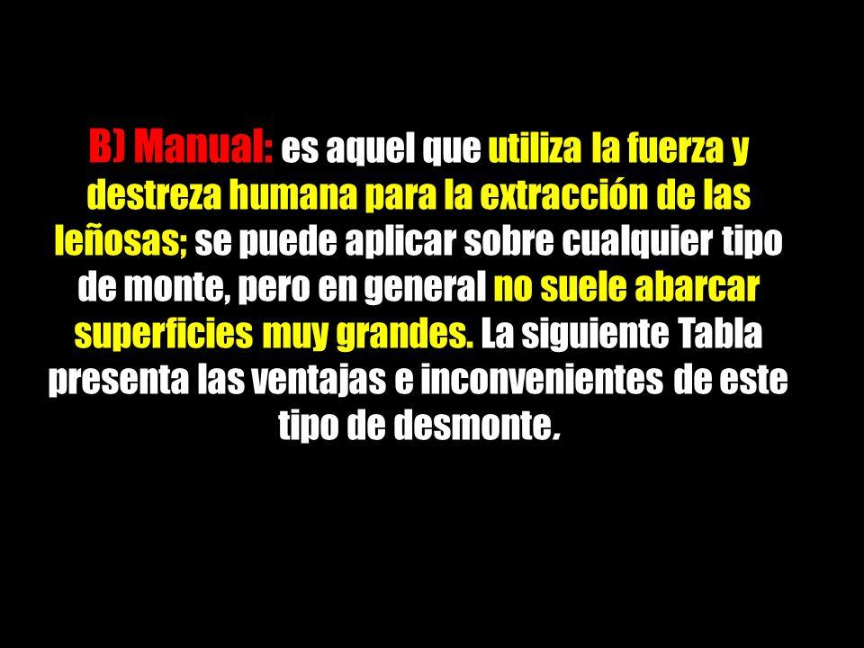 B) Manual: es aquel que utiliza la fuerza y destreza humana para la extracción de las leñosas; se puede aplicar sobre cualquier tipo de monte, pero en