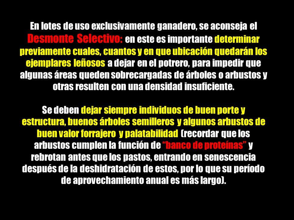 Desmonte Selectivo: En lotes de uso exclusivamente ganadero, se aconseja el Desmonte Selectivo: en este es importante determinar previamente cuales, c