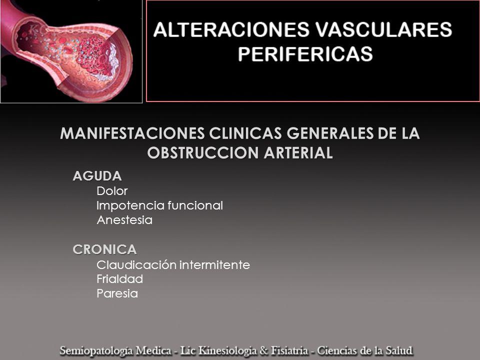 AGUDA Dolor Impotencia funcional AnestesiaCRONICA Claudicación intermitente Frialdad Paresia MANIFESTACIONES CLINICAS GENERALES DE LA OBSTRUCCION ARTE