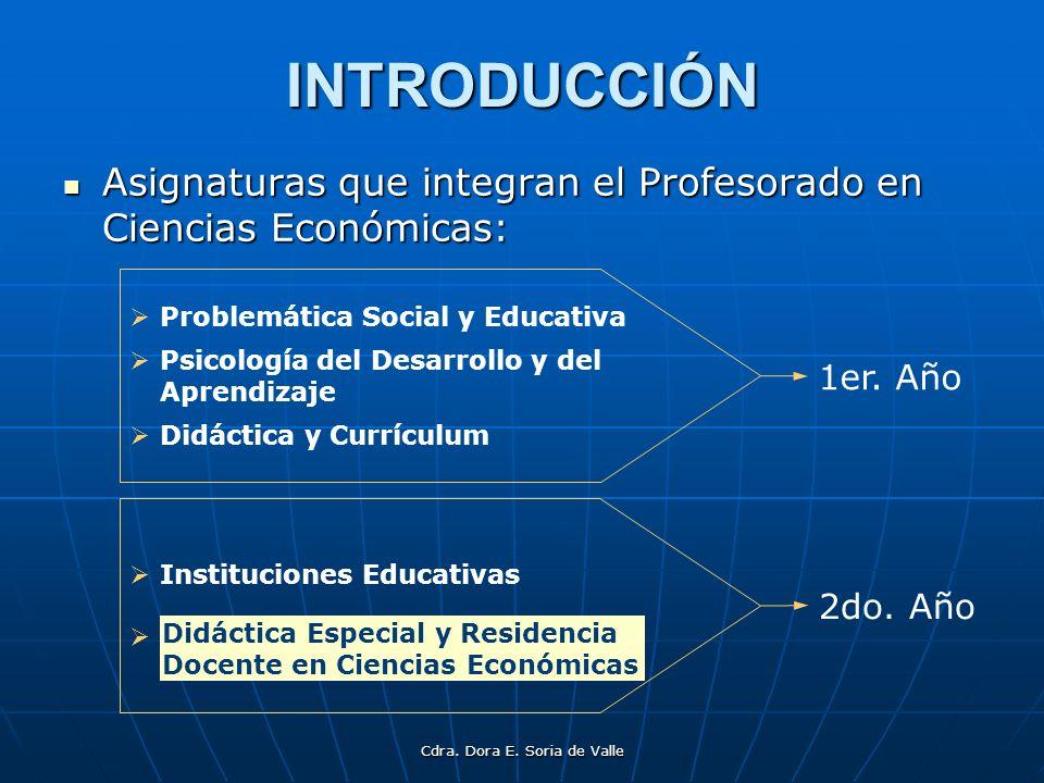 Cdra.Dora E. Soria de Valle INTRODUCCIÓN Las ciencias son producto y productoras de cultura.