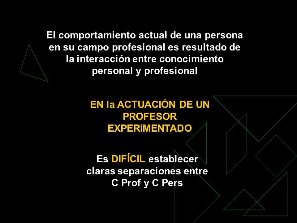 El comportamiento actual de una persona en su campo profesional es resultado de la interacción entre conocimiento personal y profesional EN la ACTUACI