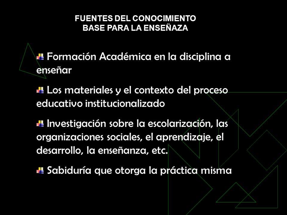 FUENTES DEL CONOCIMIENTO BASE PARA LA ENSEÑAZA Formación Académica en la disciplina a enseñar Los materiales y el contexto del proceso educativo insti
