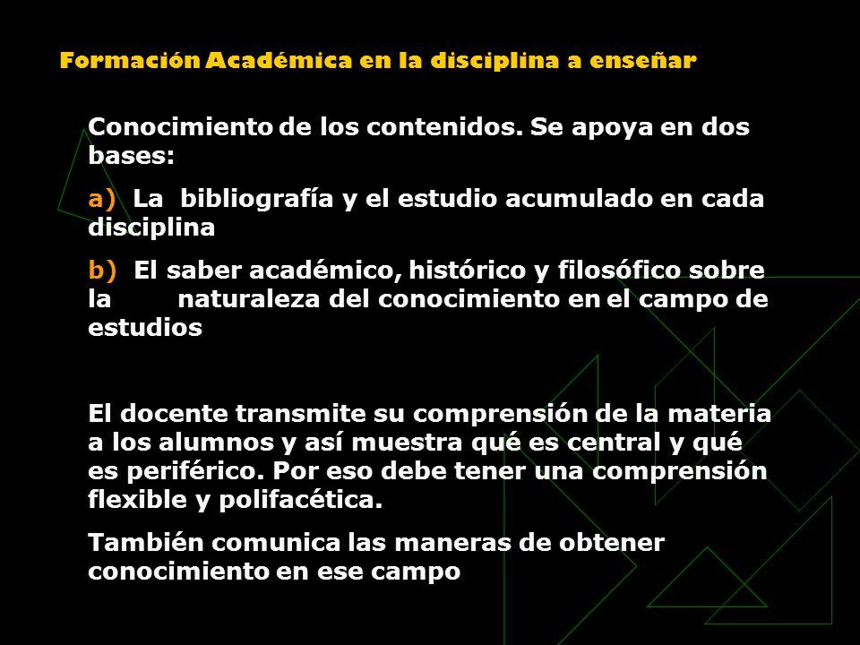 Formación Académica en la disciplina a enseñar Conocimiento de los contenidos. Se apoya en dos bases: a) La bibliografía y el estudio acumulado en cad