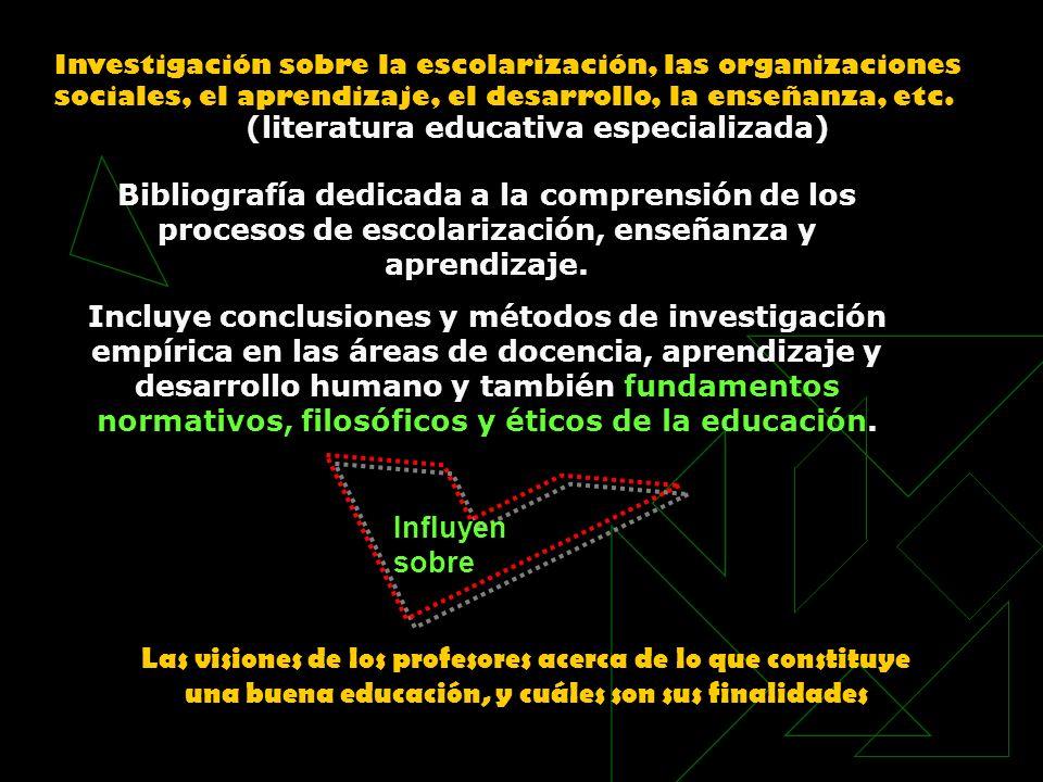 Investigación sobre la escolarización, las organizaciones sociales, el aprendizaje, el desarrollo, la enseñanza, etc. (literatura educativa especializ