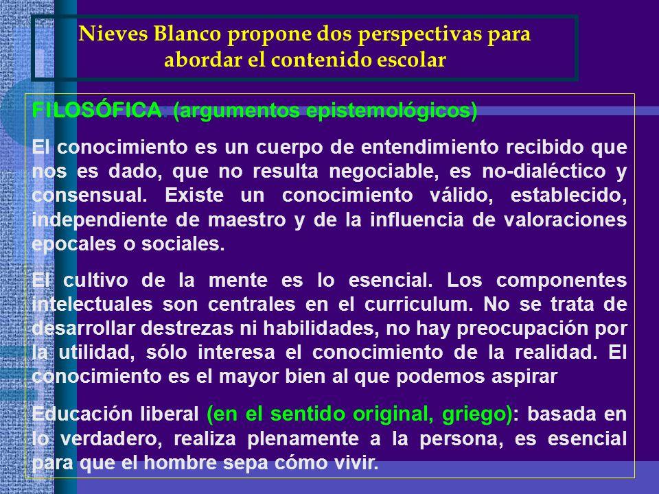 Nieves Blanco propone dos perspectivas para abordar el contenido escolar FILOSÓFICA : (argumentos epistemológicos) El conocimiento es un cuerpo de ent